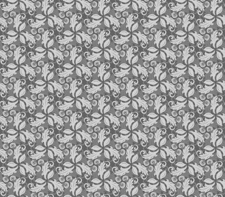fine: Floral silver ornament. Seamless abstract background with fine pattern