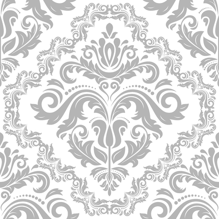 antique wallpaper: Damask seamless ornament. Traditional silver pattern. Classic oriental background