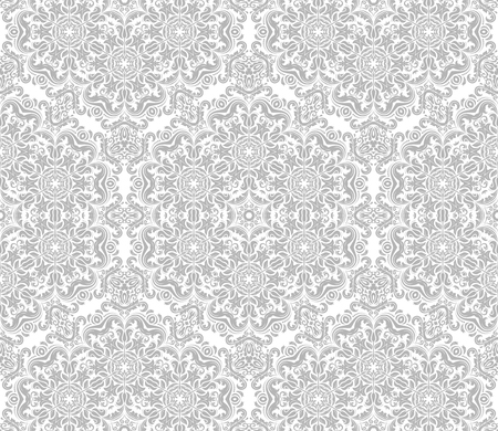 traditional silver wallpaper: Seamless oriental wallpaper in the style of baroque. Traditional classic vector pattern. Light silver ornament