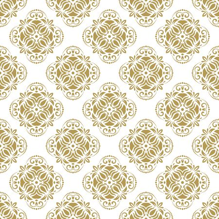 gold leafs: Oriental vector classic golden ornament. Seamless abstract background Illustration