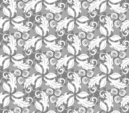 grey abstract background: Floral ornament. Seamless abstract background with silver and white leafs Stock Photo