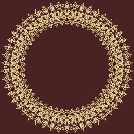 frilly: Oriental abstract golden round ornament with arabesques and floral elements. Fine colored pattern Stock Photo