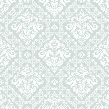 website background: Seamless oriental light blue and white ornament in the style of baroque. Traditional classic vector pattern
