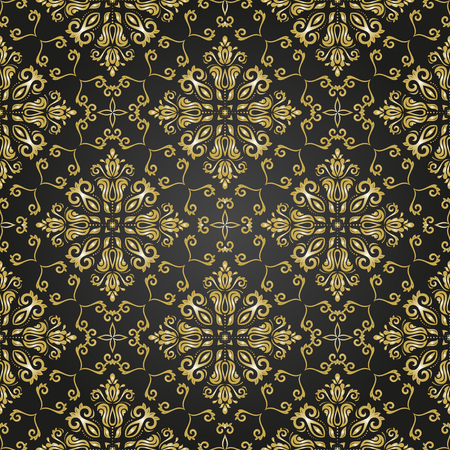 oriental vector: Oriental vector classic ornament. Seamless abstract black and golden background