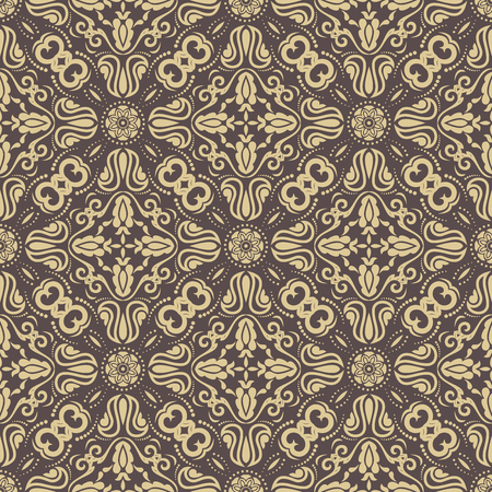 oriental vector: Oriental vector classic ornament. Seamless abstract brown and golden background Illustration