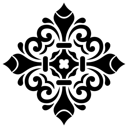 white tile: Oriental vector pattern with arabesques and floral elements. Traditional classic square black ornament
