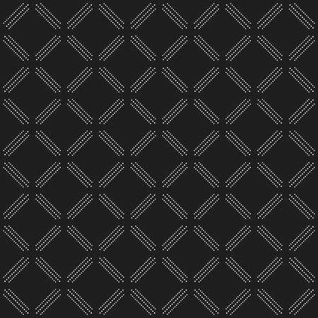 dotted lines: Geometric repeating dark ornament with diagonal white dotted lines. Seamless abstract modern pattern