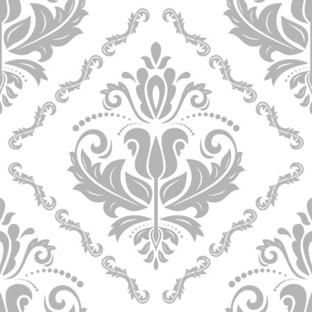 traditional pattern: Damask seamless ornament. Traditional pattern. Classic oriental light silver background Stock Photo