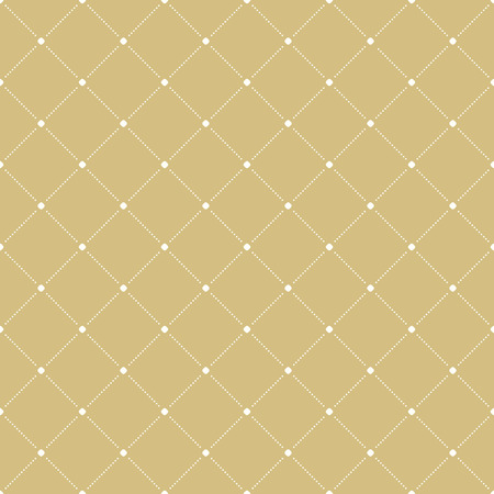 dotted lines: Geometric repeating golden ornament with white diagonal dotted lines. Seamless abstract modern pattern Stock Photo