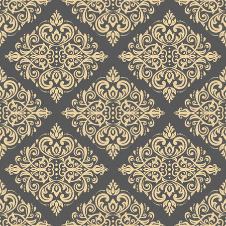 pattern antique: Damask seamless ornament. Traditional pattern. Classic oriental golden background Stock Photo