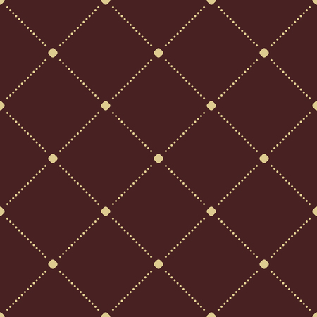 dotted lines: Geometric repeating brown and golden ornament with diagonal dotted lines. Seamless abstract modern pattern