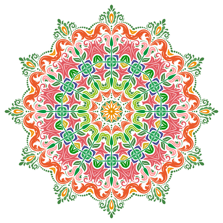 laced: Elegant vector ornament in the style of barogue. Abstract traditional colorful pattern with oriental elements