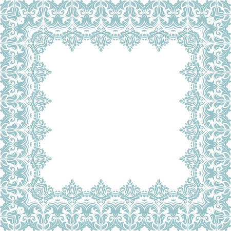 blue card: Classic vector square frame with arabesques and orient elements. Abstract fine ornament with place for text