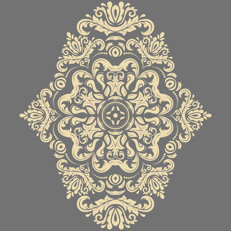 old frame: Oriental vector pattern with arabesques and floral golden elements. Traditional classic ornament