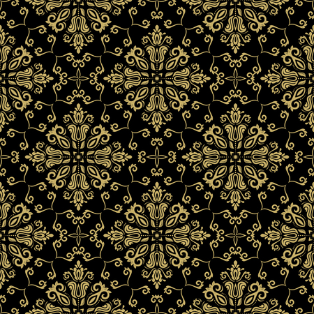 damask pattern: Damask seamless golden ornament. Traditional pattern. Classic oriental background