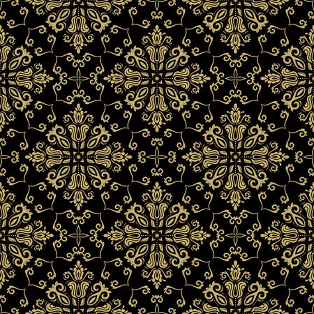 black damask: Damask seamless golden ornament. Traditional pattern. Classic oriental background