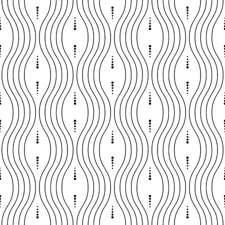 black lines: Seamless vector ornament. Modern geometric pattern with black repeating wavy lines and elements Illustration