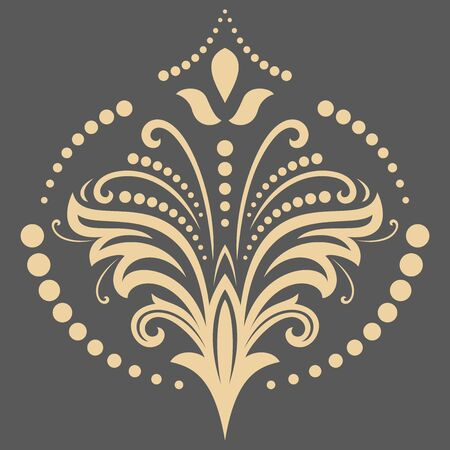 fine: Floral golden pattern with fine arabesques. Abstract oriental ornament