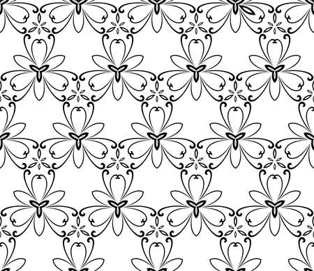 repeats: Floral black and white ornament. Seamless abstract background with fine pattern