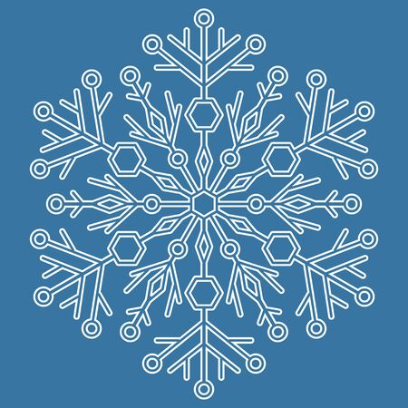 fine weather: Round vector white snowflake with blue background. Abstract winter ornament