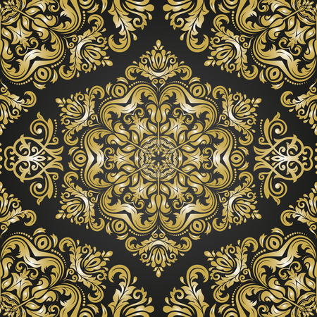 royal person: Oriental vector classic golden ornament. Seamless abstract background with repeating elements