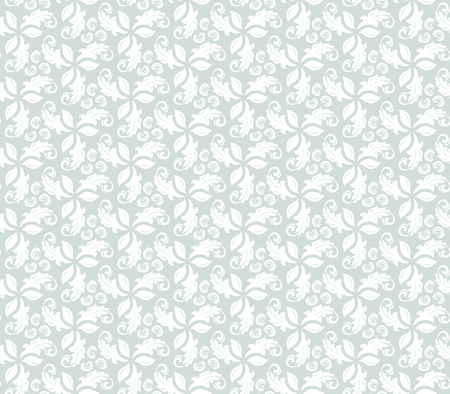 repeated: Floral vector light blue and white ornament. Seamless abstract classic pattern with flowers