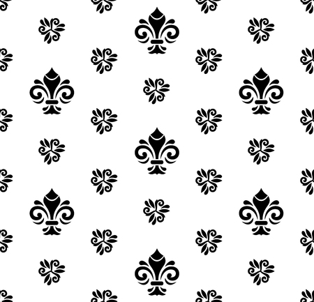 blak and white: Seamless vector black and white ornament. Modern geometric pattern with royal lilies