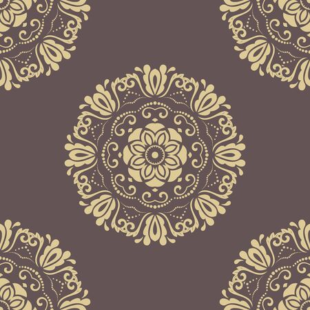 orient: Oriental classic brown and golden ornament. Seamless abstract pattern. Fine orient background for design and decorate Stock Photo