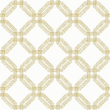 octogonal: Geometric repeating vector ornament with golden octagonal dotted elements. Seamless abstract modern pattern