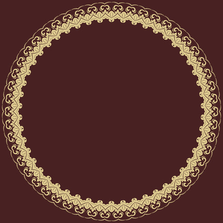 frilly: Oriental abstract golden round frame with arabesques and floral elements Stock Photo