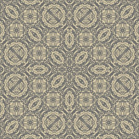 gold leafs: Oriental classic gray and golden pattern. Seamless abstract background