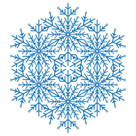 fine weather: Round vector blue snowflake. Abstract winter ornament