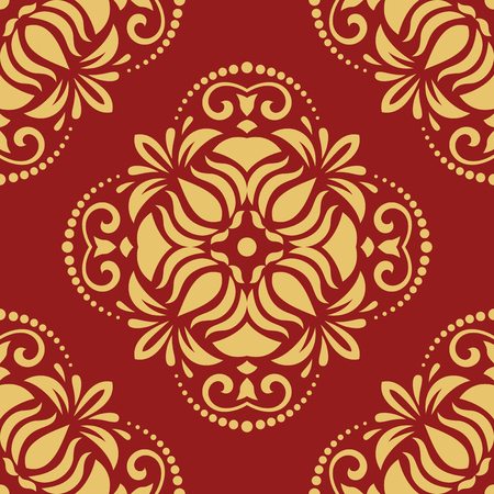 royal person: Oriental vector classic red and golden pattern. Seamless abstract background with repeating elements