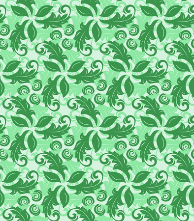 green flowers: Floral vector green ornament. Seamless abstract classic pattern with flowers
