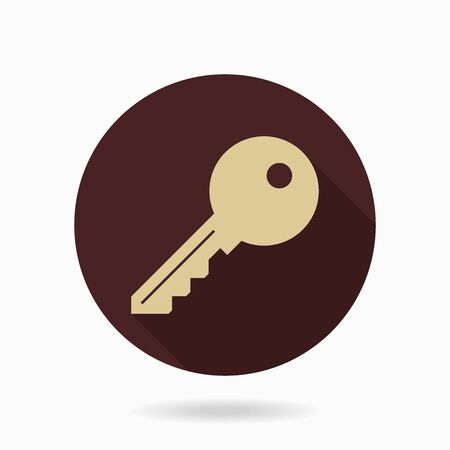 key lock: Fine golden key icon in the brown circle. Flat design and long shadow