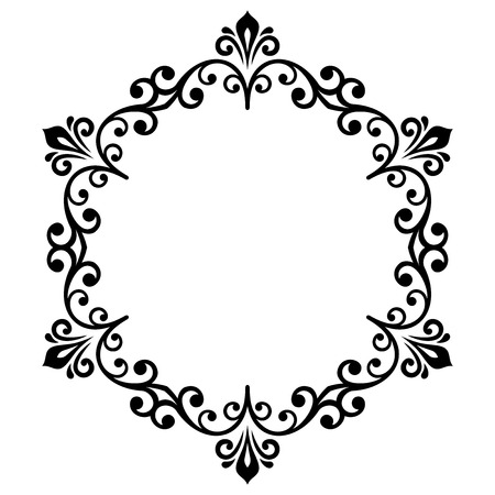 Oriental vector round frame with arabesques and floral elements. Floral black and white border. Greeting card with place for text