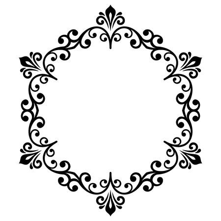 Oriental vettore cornice rotonda con arabeschi e elementi floreali. bordo bianco e nero floreale. Biglietto di auguri con il posto per il testo