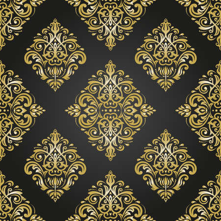 black yellow: Seamless oriental ornament in the style of baroque. Traditional classic vector pattern. Black and golden pattern