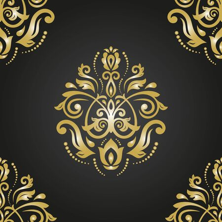 decorative pattern: Oriental classic black and golden pattern. Seamless abstract background Stock Photo