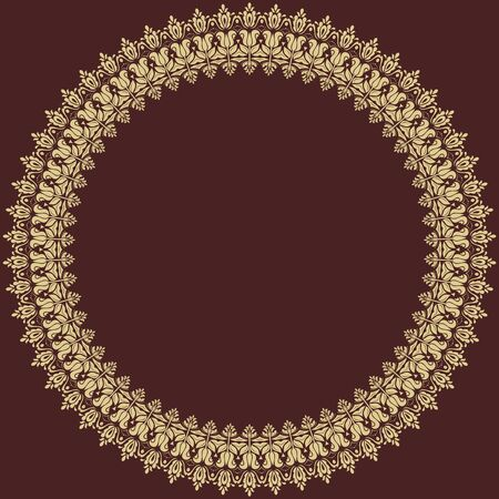 frilly: Oriental round golden frame with arabesques and floral elements. Fine greeting card Stock Photo