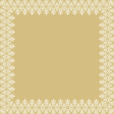 golde: Classic vector white square frame with arabesques and orient elements. Abstract fine ornament with place for text
