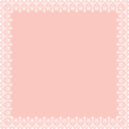 text pink: Classic vector square frame with arabesques and orient elements. Abstract fine ornament with place for text. Pink and white pattern