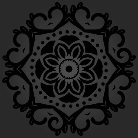oriental ornament: Floral round pattern with black arabesques. Abstract oriental ornament