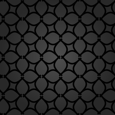 シームレスなベクトル飾り。繰り返しのある要素とモダンな幾何学模様。暗い現代パターン