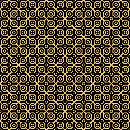 octagonal: resumen de antecedentes vector octogonal fina geométrica. modelo moderno sin fisuras. patrón oro y negro