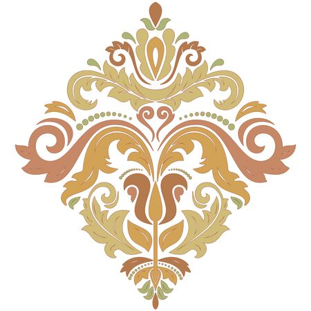 orange color: Oriental vector pattern with arabesques and floral elements. Traditional classic ornament. Pattern with pastel colors Stock Photo