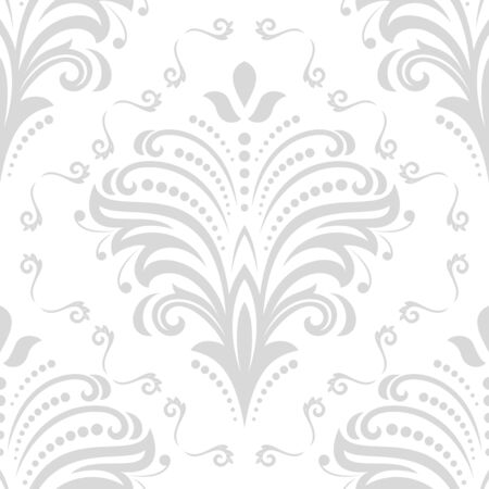 fine: Floral light silver ornament. Seamless abstract classic fine pattern Stock Photo