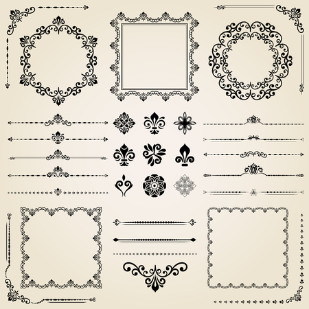 lily flowers: Vintage set of elements. Different vector elements for decoration and design frames, cards, menus, backgrounds and monograms. Collection of floral ornaments Illustration