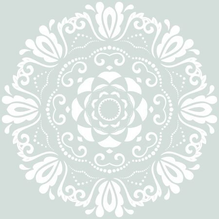 fine: Floral pattern with fine arabesques. Abstract round white oriental ornament