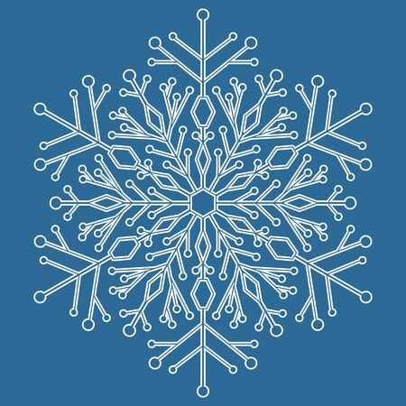white winter: Round vector snowflake. Abstract winter ornament. Blue and white colors